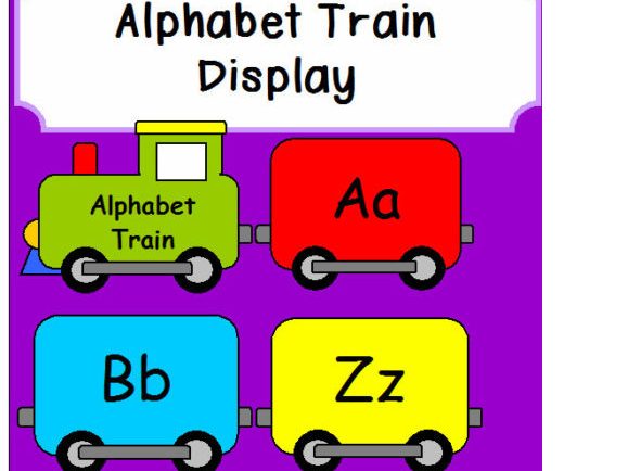 ALPHABET TRAIN NUMBER Display Classroom teaching resources KS1 EYFS Maths  Literacy.