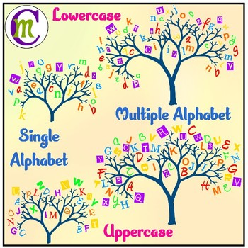 Alphabet Trees Clipart.