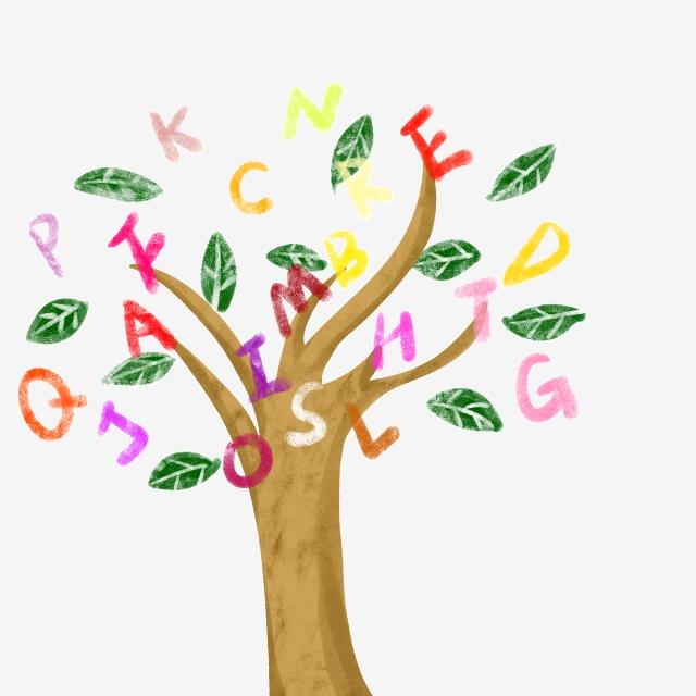 English Alphabet Tree Illustration, Colored Trees, Creative Trees.