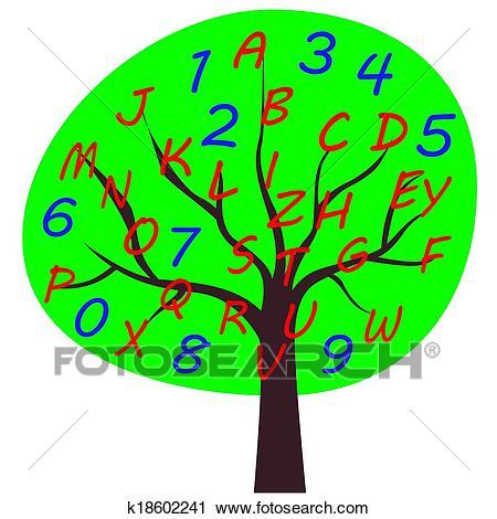 School alphabet tree Clipart.