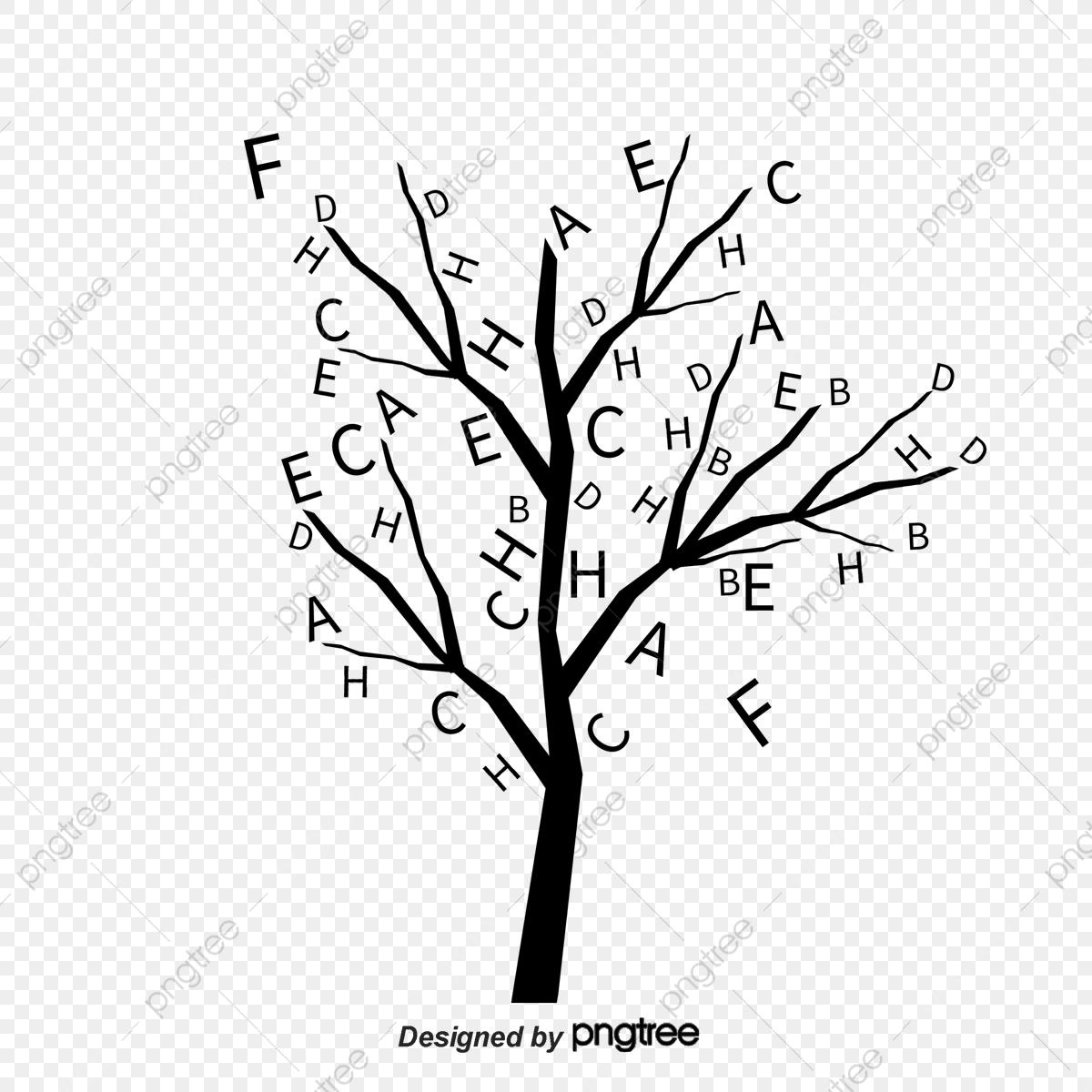 Vector Alphabet Trees, Alphabet Clipart, Creative Trees, Cartoon.