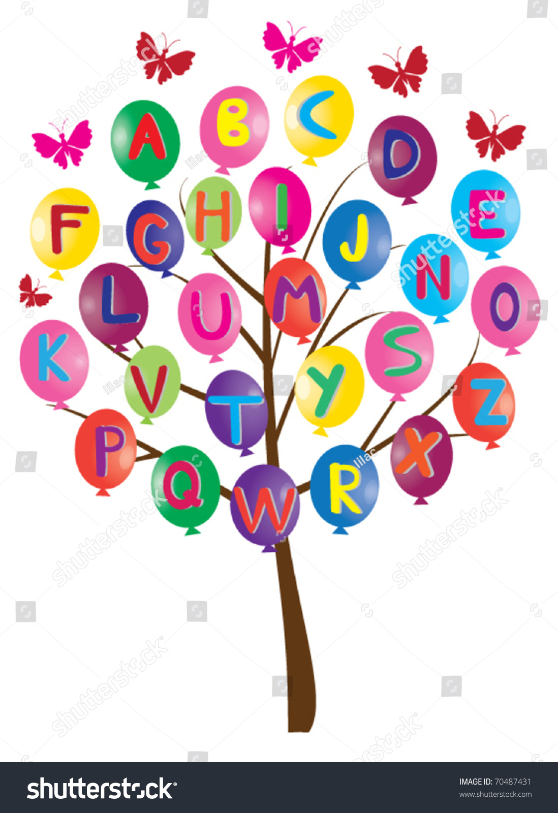 Vector Alphabet Tree Letters Balloons Stock.