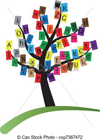 alphabet stylized tree.