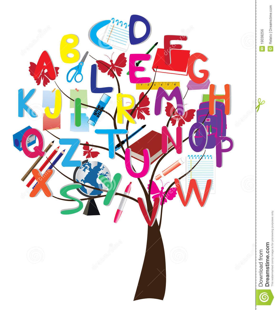 Alphabet tree stock vector. Illustration of globe, letter.
