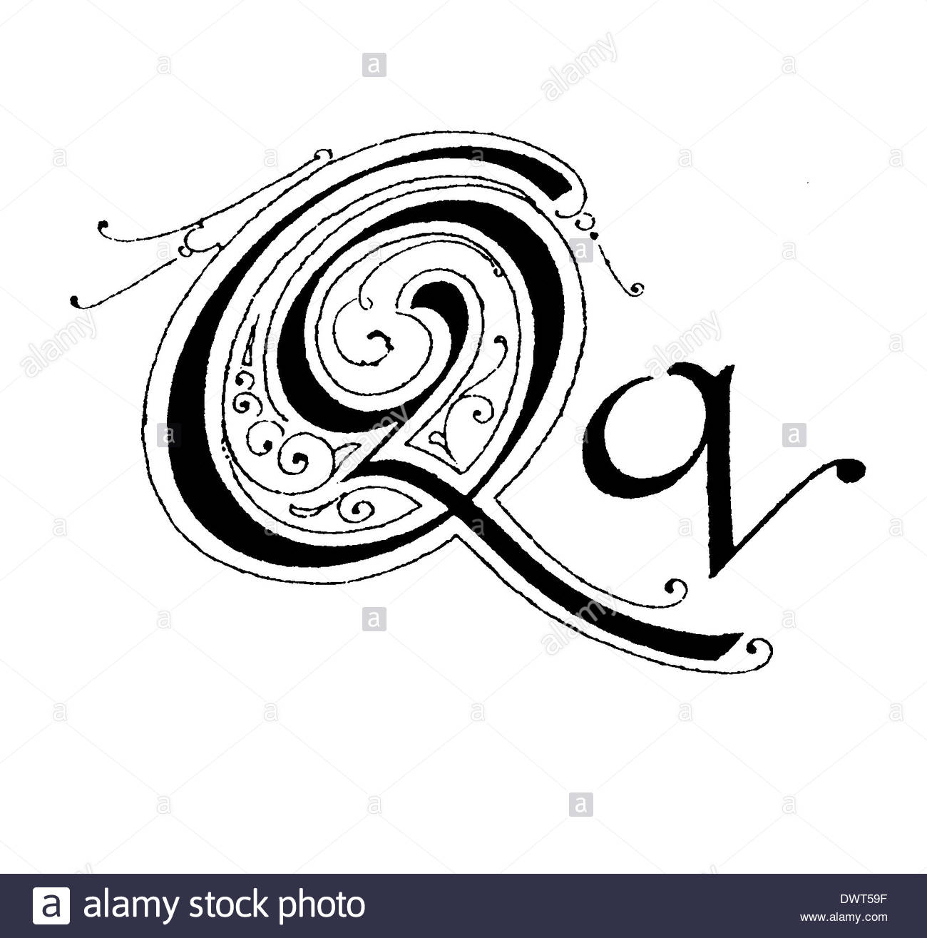 Alphabetic Character, Letter Q Stock Photo, Royalty Free Image.