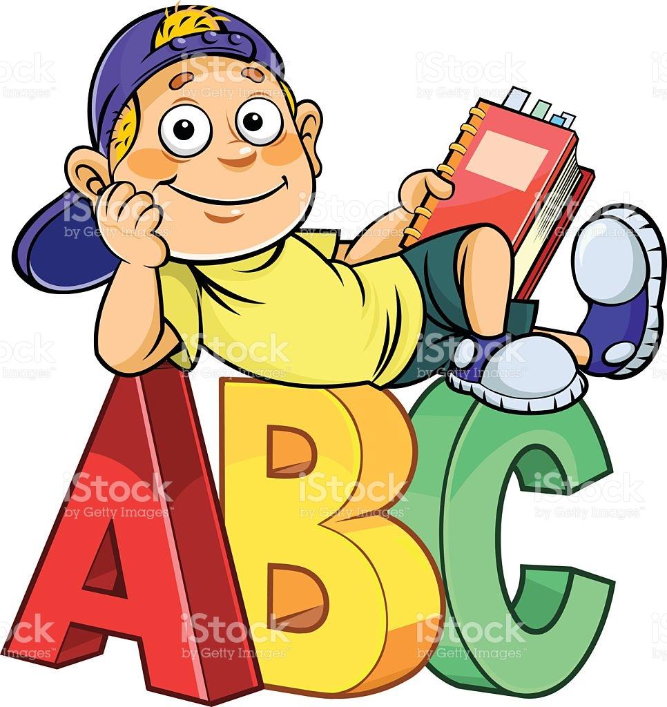 Cartoon Kid On Abc stock vector art 494278320.