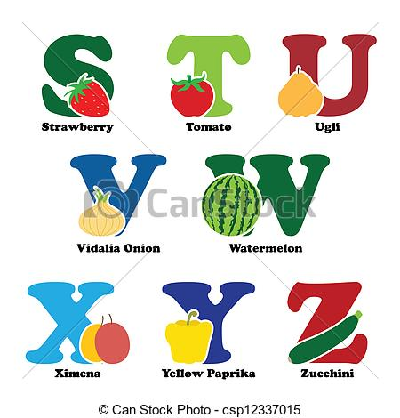 Vector Clip Art of Fruit and vegetable alphabet.
