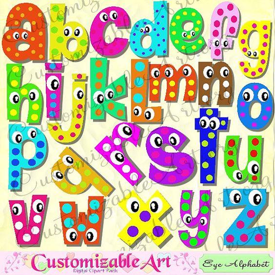 Digital Fun Alphabets Clipart Cute Digital Letters of the Alphabet.