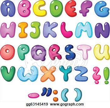 Bubble Letter Alphabet Clipart.
