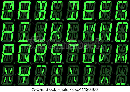 Stock Illustration of Digital font from capital letters on green.