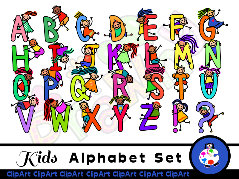 Diverse Happy Kids Alphabet ClipArt.