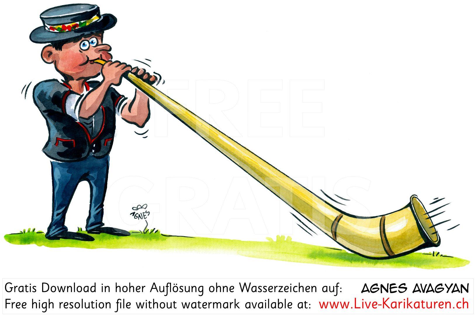 Alphorn Volksmusik Folklore Senn schwarz.
