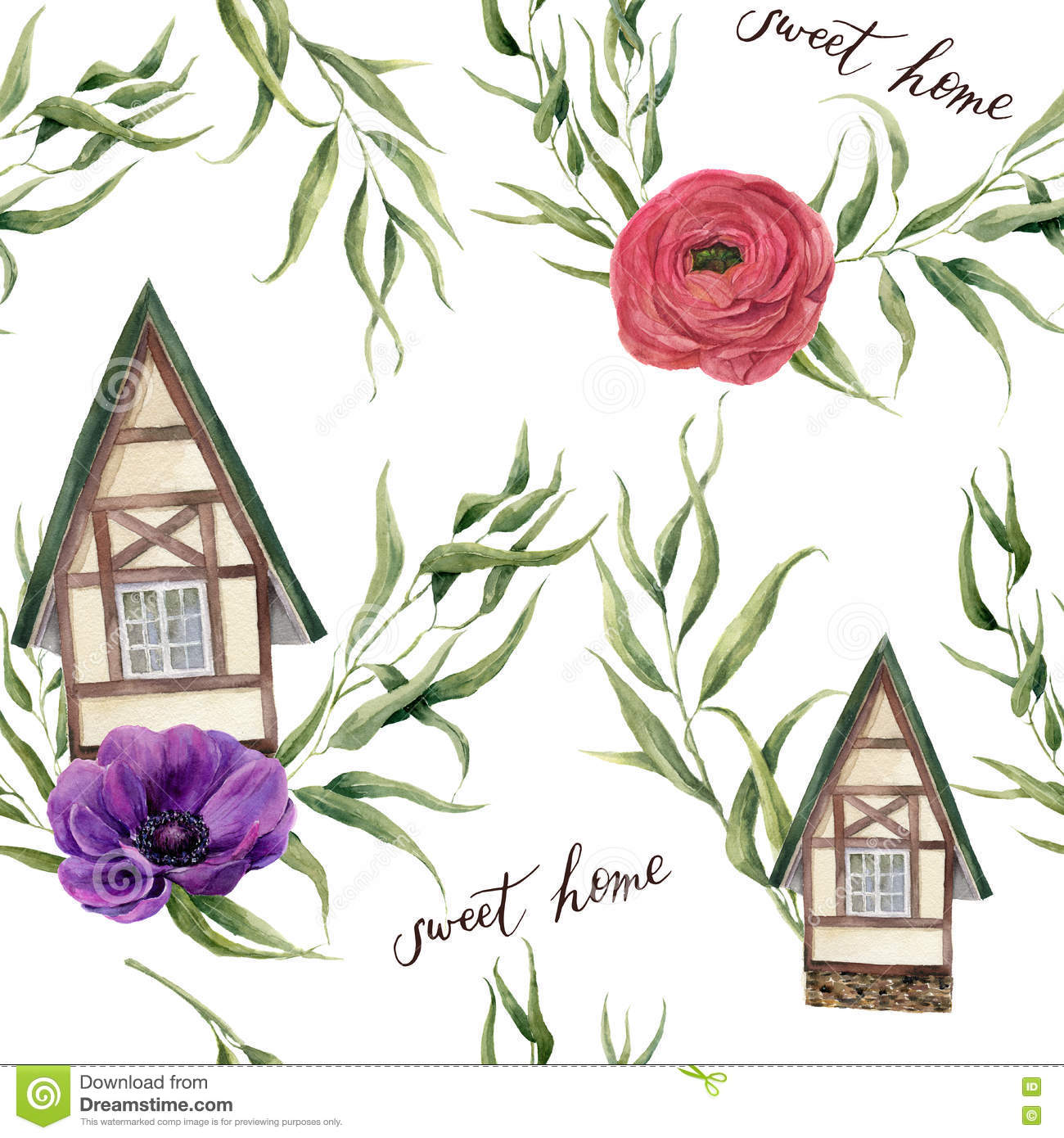 Sweet Home Watercolor Seamless Pattern. Watercolor House In Alpine.