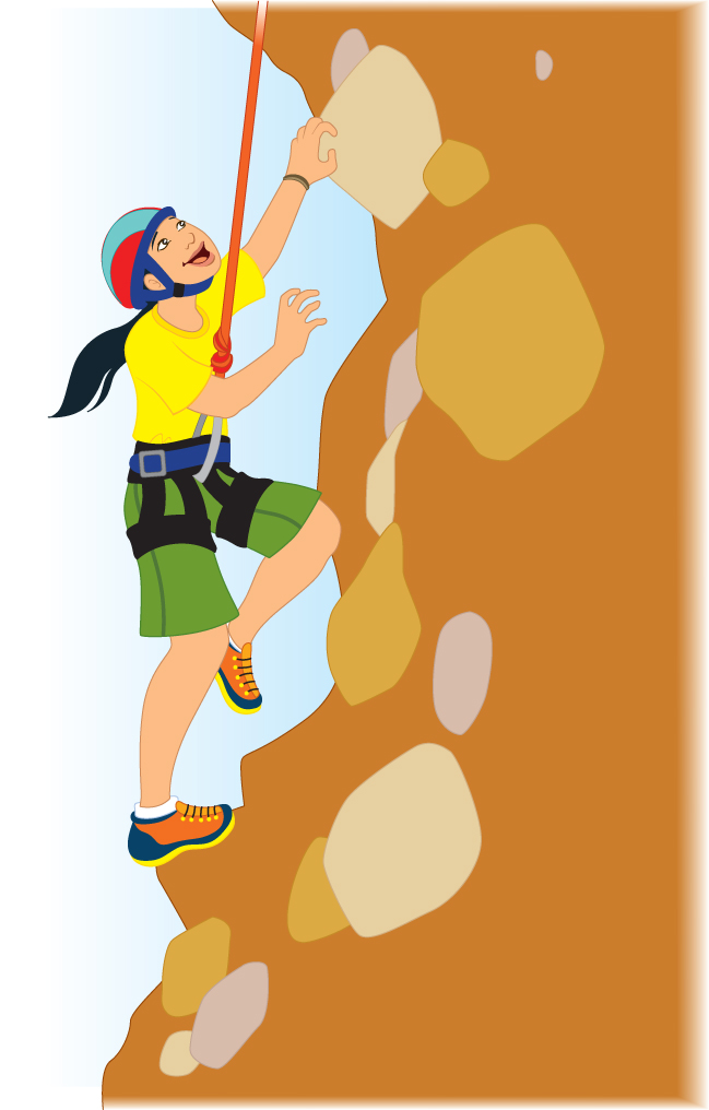 Man climbing a mountain clip art.