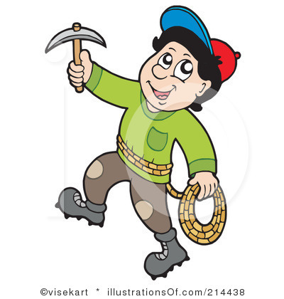Cartoon mountain climber clipart.
