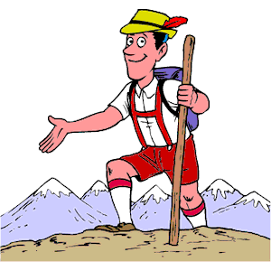 Mountain climbing cartoon clip art.