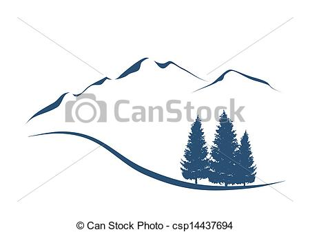 EPS Vectors of stylized illustration showing an alpine Landscape.