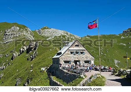 "Stock Photo of ""Pfalzerhutte, mountain refuge of the Liechtenstein."