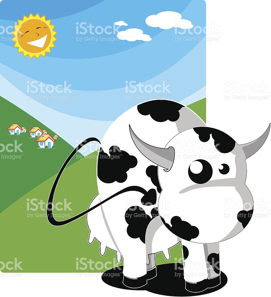 Cow In A Sunny Day stock vector art 92715129.