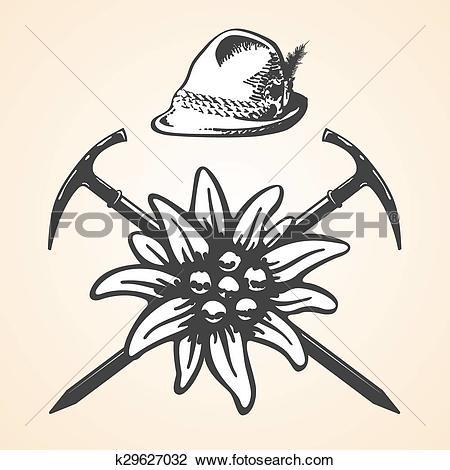Clipart of Edelweiss alpine oktoberfest vintage tyrolean style hat.