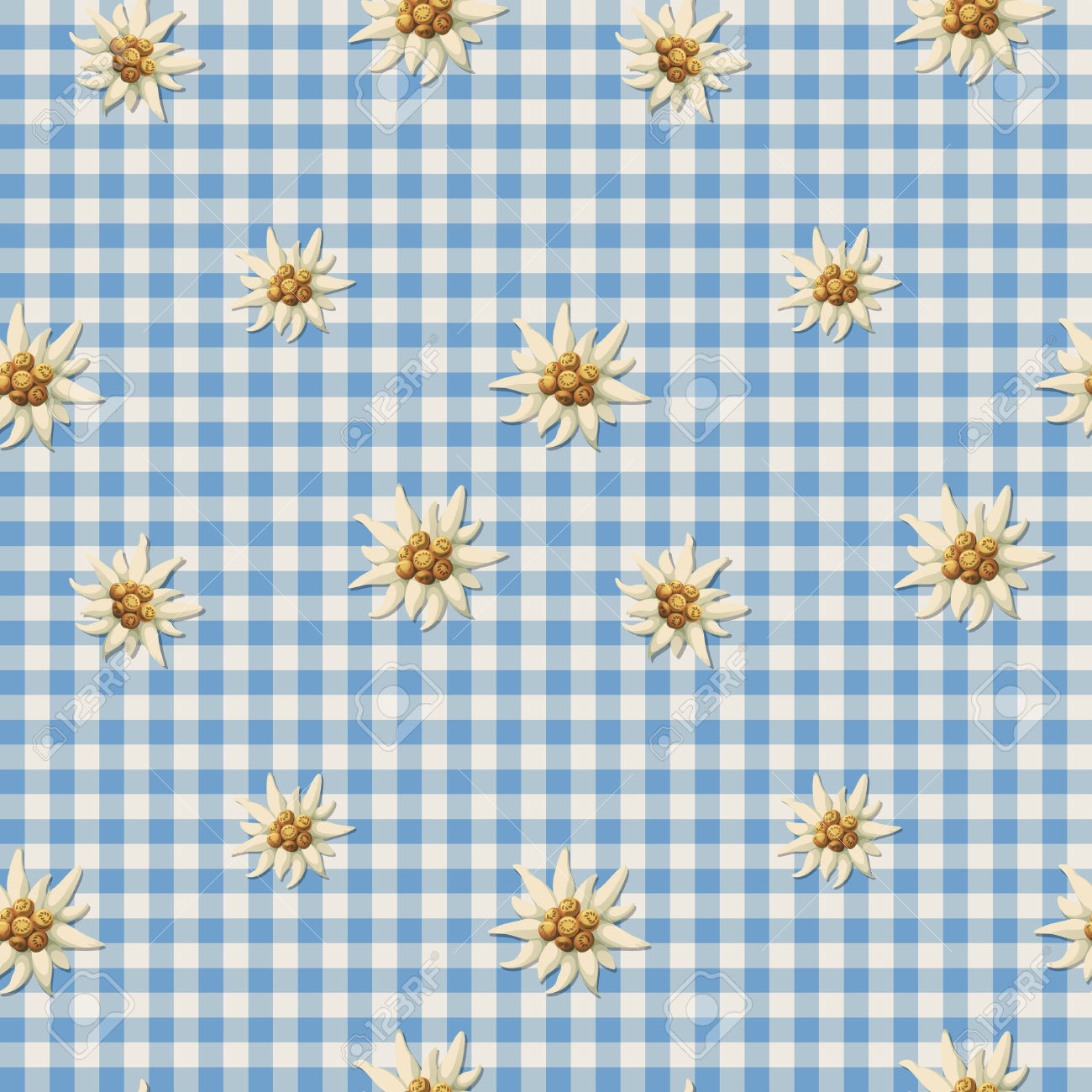 Tiling Alpine Pattern With Edelweiss Royalty Free Cliparts.