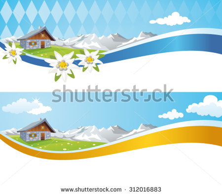 Oktoberfest Banner Background With Alpine Cabin, Bavarian Alps And.