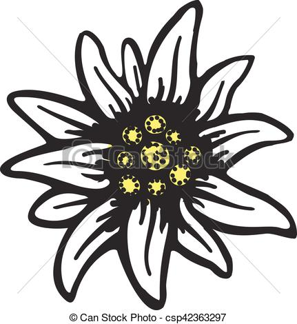 EPS Vectors of edelweiss flower symbol alpinism alps germany logo.