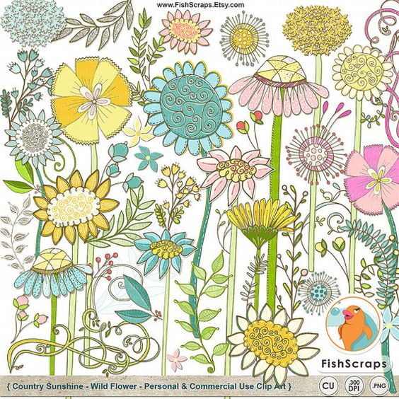 Flower Clipart, Wild Flowers Clip Art, Spring Floral Graphic.