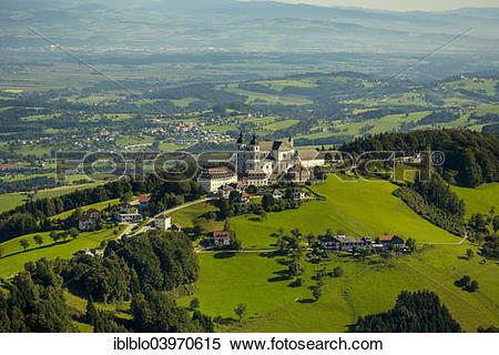 "Stock Image of ""Aerial view, Sonntagberg Basilica, Alpine."