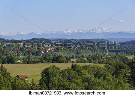 "Stock Photo of ""Apfeldorf and the Lech River in front of the Alps."