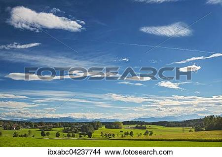 Stock Photo of Foehn clouds over Alpine foothills, south of Munich.
