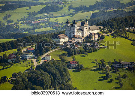"Stock Photo of ""Aerial view, Sonntagberg Basilica, Alpine."