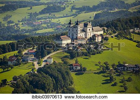 "Stock Photo of ""Aerial view, Sonntagberg Basilica, Alpine."