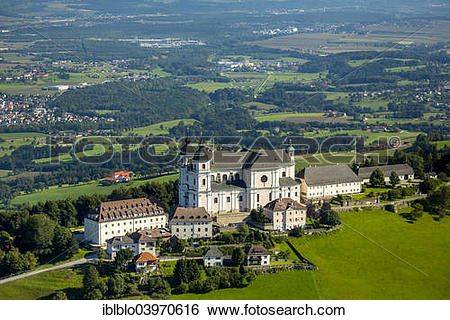 "Stock Images of ""Aerial view, Sonntagberg Basilica, Alpine."