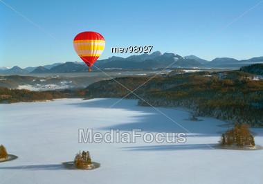Stock Photo Hot Air Balloon Alpine Foothills Clipart.