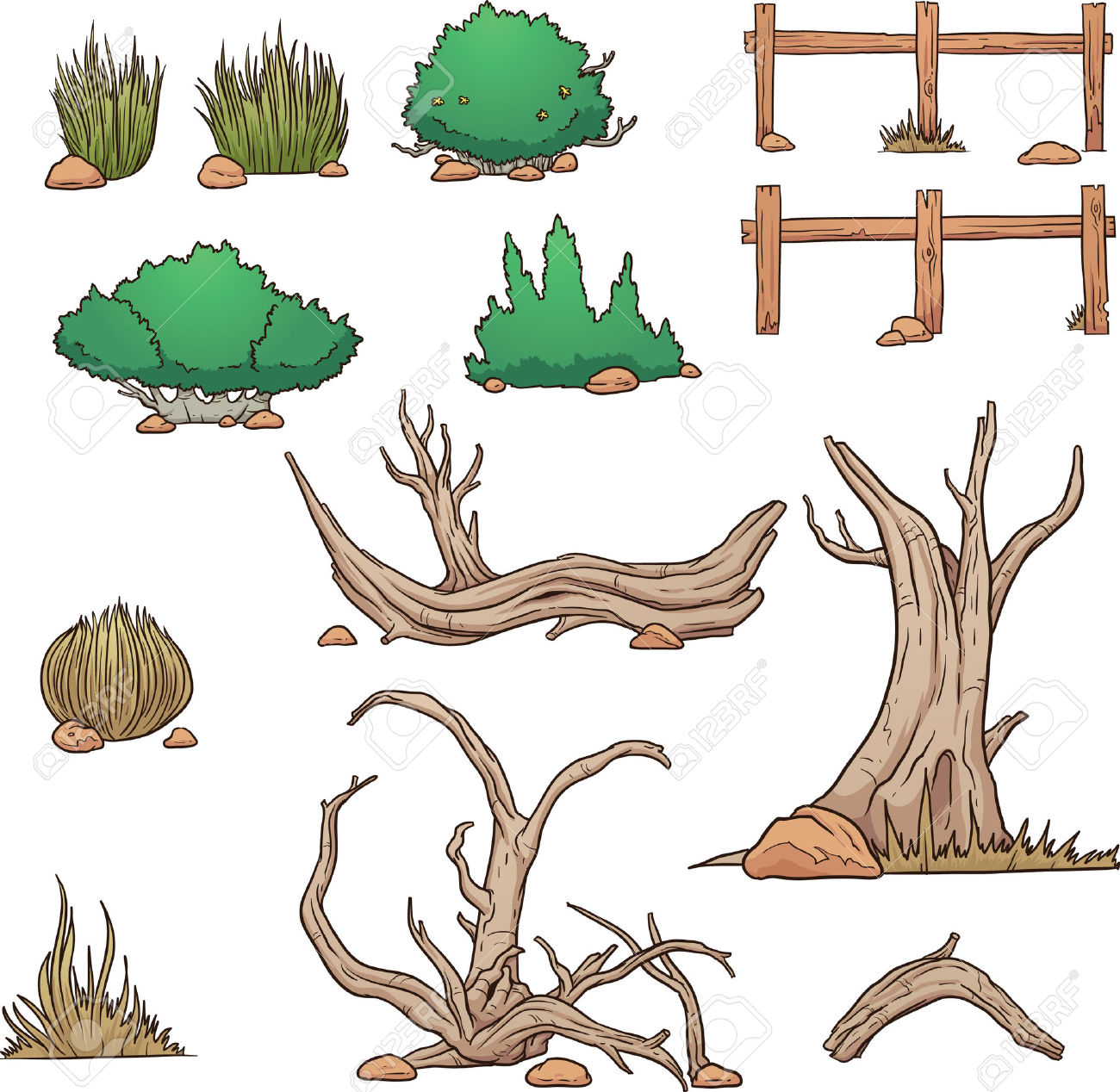 Desert Elements, Bushes And Dead Wood. Vector Clip Art.