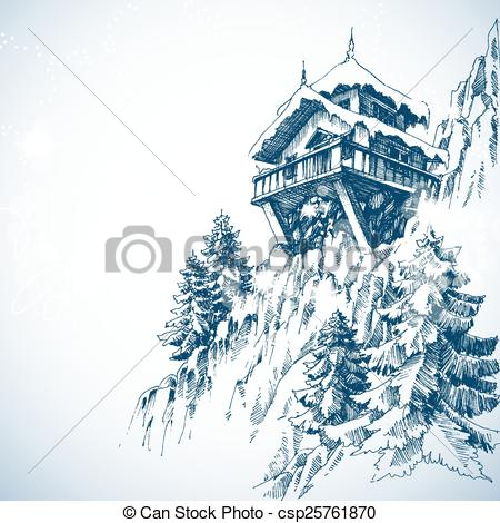 Mountain hut Illustrations and Clip Art. 412 Mountain hut royalty.