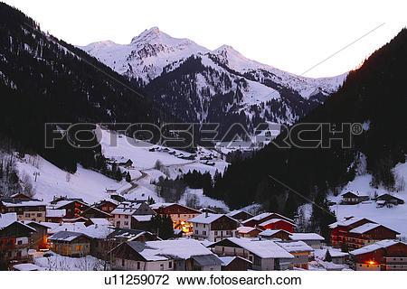 Stock Photo of Houses, Landscape, House, Village, Night, Hut, Alps.
