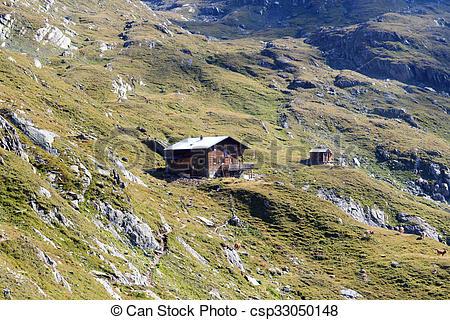 Stock Photo of Alpine hut Eisseehutte in Hohe Tauern Alps, Austria.