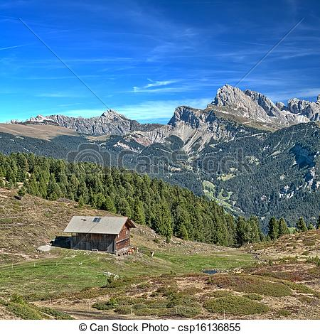 Stock Images of Alpine hut in the dolomites.