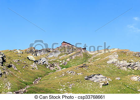 Stock Image of Alpine hut Badener Hutte on mountain in Hohe Tauern.
