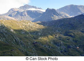 Stock Images of Panorama view with mountain Weissspitze and alpine.