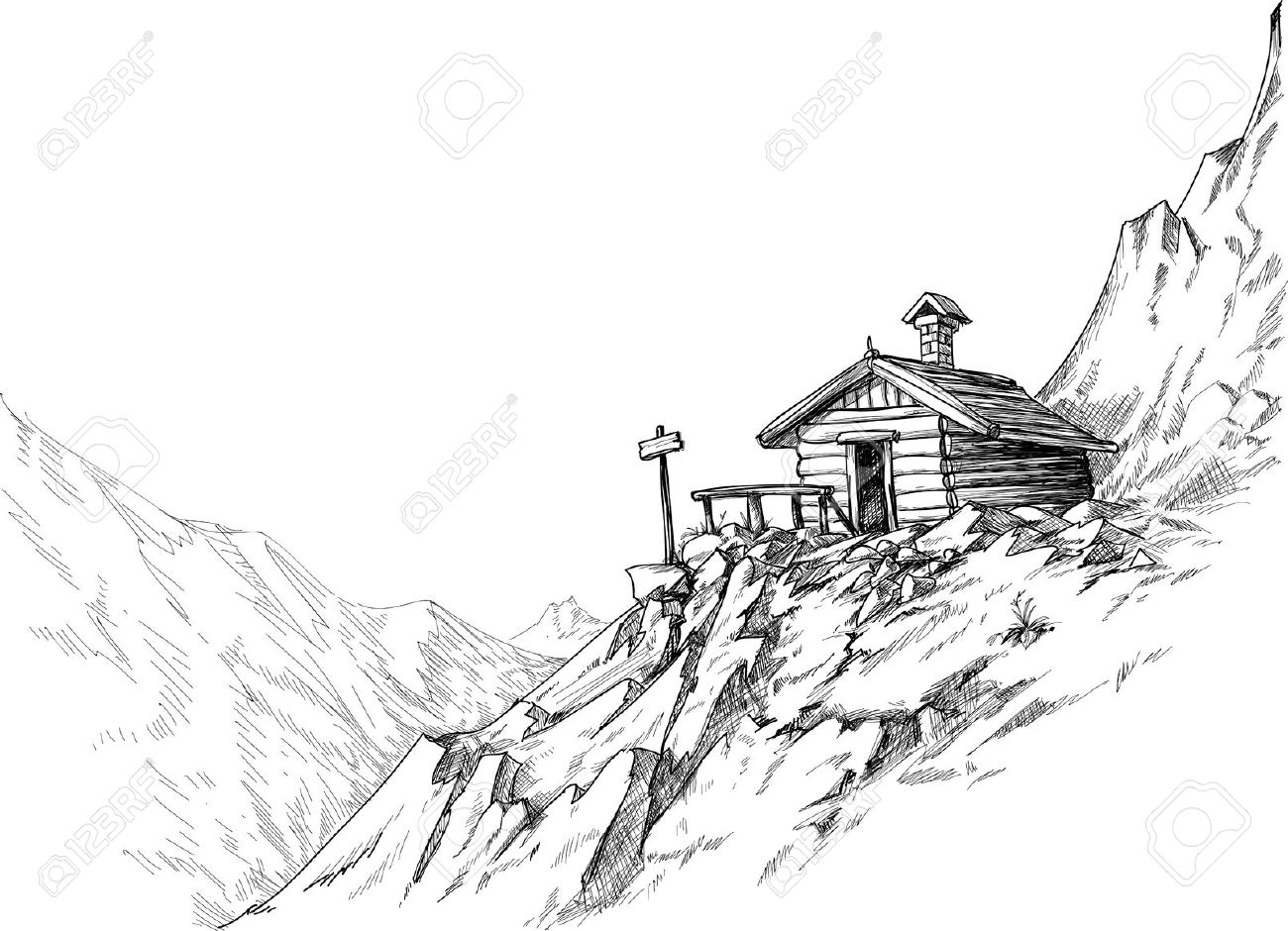 Mountain Hut Sketch Royalty Free Cliparts, Vectors, And Stock.