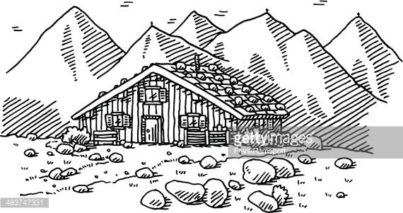 Mountain Hut Landscape Drawing Vector Art.