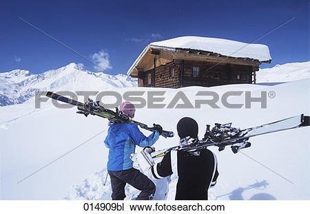 Alpine huts clipart #20