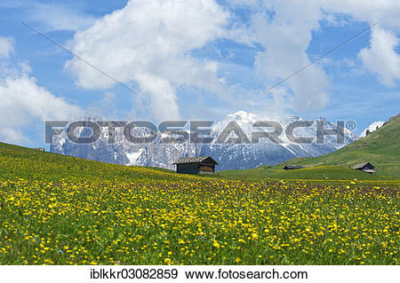 "Stock Photograph of ""Alpine huts in front of Piatto Mountain and."