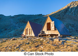 Stock Images of Alpine Huts.