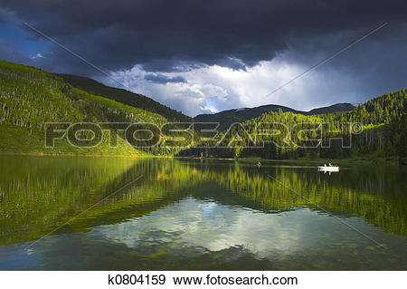 Stock Illustration of Alpine lake k0804159.