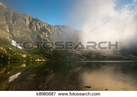 Picture of Alpine lake in Restonica Valley, Corsica, France.