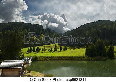 Clipart of picture of the small alpine lake of the Italian.